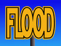Flood warning sign Stock Photo
