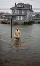 Stock Images Flood Water in Street Hurricane Sandy