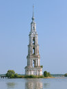 Flooded belfry on the volga river in kalyazin famous russia Royalty Free Stock Photography