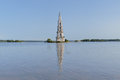 Flooded belfry on the volga river in kalyazin famous russia Royalty Free Stock Photos