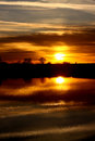 Flooded field at sunset a portrait photograph of Royalty Free Stock Photo