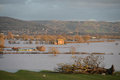 Flooded fields in the countryside scenic view of gloucestershire england Stock Images