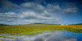 Flooded green fields scenic view of in the countryside with blue sky and cloudscape background Stock Images