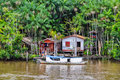 Flooded local huts on the amazon river brazil as seen from boat in Royalty Free Stock Photos