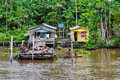 Flooded local huts on the amazon river brazil as seen from boat in Stock Photography