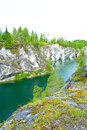Flooded quarry a photo of the marble at ruskeala russia Stock Photography
