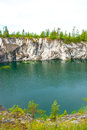 Flooded quarry a photo of the marble at ruskeala russia Royalty Free Stock Photo