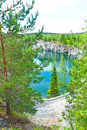 Flooded quarry a photo of the marble at ruskeala russia Stock Photo