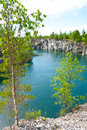 Flooded quarry a photo of the marble at ruskeala russia Royalty Free Stock Photos