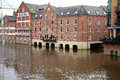 Flooded river Ouse, York, UK. Royalty Free Stock Photo