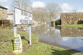 Flooded road basingstoke england february a residential by ground water after heavy storms in hampshire many residents Royalty Free Stock Photos