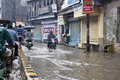Flooded street in Varanasi Royalty Free Stock Photography