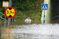 Flooded streets in sweden flooding august Stock Images