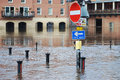 Flooded york submerged road sign on riverside of river ouse in Royalty Free Stock Images