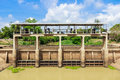 Floodgate water storage in suphanburi thailand asian Royalty Free Stock Images