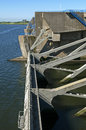 Floodgates of the dam haringvlietdam a delta work netherlands province south holland between small town hellevoetsluis and village Stock Image