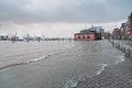 Flooding caused by storm xaver beside fish market in hamburg the which hit large parts of europe on th december Stock Photography