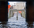 Flooding due to storm xaver in the historic fish market in hamburg germany following the which caused tidal surges Royalty Free Stock Photography