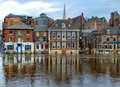 Flooding on king s staith york england river ouse bursted its banks due to heavy rainfall view yorkshire uk Stock Photography