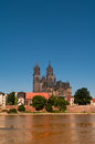 Flooding in magdeburg cathedral at river elbe june of Royalty Free Stock Image