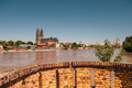 Flooding in magdeburg cathedral at river elbe june of Stock Images