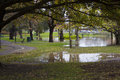 Flooding of parkland during autumn flooded heavy rains leaving pools water Stock Images