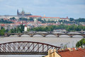Flooding in prague view of castle across the swollen river vltava Royalty Free Stock Images