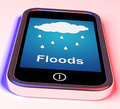 Floods on phone shows rain causing floods and flooding showing Royalty Free Stock Photography