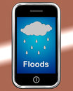 Floods on phone shows rain causing floods and flooding showing Stock Photo