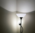 Floor lamp in interior silhouette of decorative shade house Stock Photo