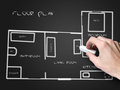 Floor plan on blackboard Royalty Free Stock Photo