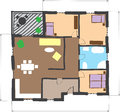 Floor plan of house, colored doodle style Stock Photo