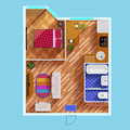 Floor Plan Of One Bedroom Apartment Royalty Free Stock Photo