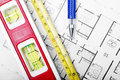 Floor plan and tools Royalty Free Stock Photo