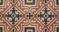 Floor tiled top view with brown mediterranean decorations Royalty Free Stock Images