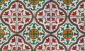 Floor tiled top view with mediterranean decorations Stock Image