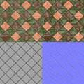 Floor tiles seamless generated texture diffuse bump normal with and map Royalty Free Stock Image