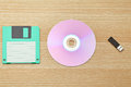 Floppy cd and usb on the wooden table Royalty Free Stock Images