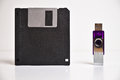 Floppy disk diskette and usb flash drive memory stick old current technologies Stock Photography