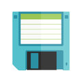 Floppy disk vintage illustration flat graphic with long shadow Stock Photo