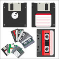 Floppy disks and cassettes Royalty Free Stock Photo