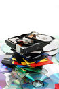 Floppy dissc, dvd, cd-rom, harddrive Stock Photos
