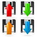 Floppy icons upload and download illustration on white Royalty Free Stock Photos