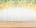 Flora backdrop with wooden floor and white cloth