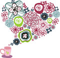 Flora love shape card Stock Photos