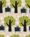 Flora and tv vector pattern seamless background Royalty Free Stock Image