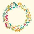 όμορφη ευχετήρια κάρτα με το floral στεφάνι Στοκ εικόνες με δικαίωμα ελεύθερης χρήσης