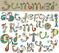 Floral abc hand drawn color alphabet illustration Stock Image