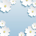 Floral abstract background, 3d flowers cherry tree Royalty Free Stock Photo