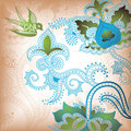 Floral Abstract with Bird Royalty Free Stock Photo